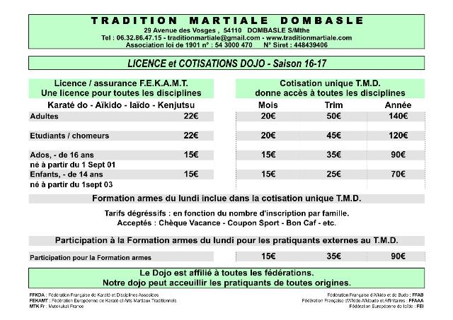 TMD-Tarifs 16-17