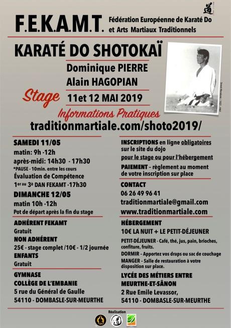 STAGE 1 SHOTOKAI FEKAMT 2 Dombasle - 11-12 mai 2019